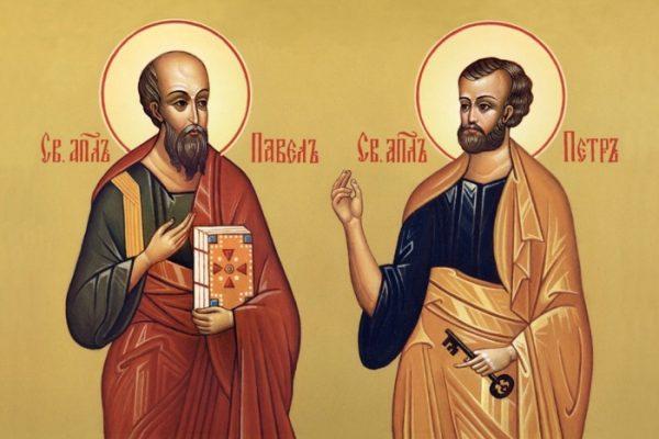 Богослужение в день первоверховных апостолов Петра и Павла,  престольный праздник храма.